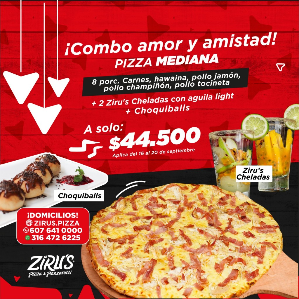 Combo Amor & Amistad ❤️ Pizza Mediana + 2 Ziru's Cheladas + Choquiballs_1